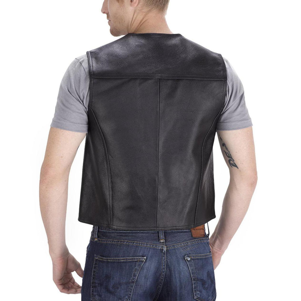 Viking Cycle Raider Leather Motorcycle Vest for Men