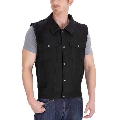 Viking Cycle Freedom Black Denim Motorcycle Vest for Men