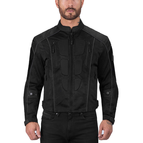 Viking Cycle Warlock Black Motorcycle Mesh Jacket for Men