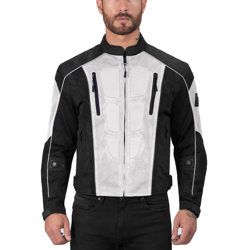 Viking Cycle Warlock Silver Mesh Motorcycle Jacket for Men