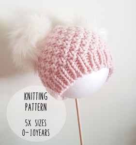 KNIT PATTERN - Stephanie Beanie. Chunky Knit Pom Pom Beanie. Baby/Child sizes