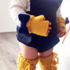 CROCHET PATTERN - Fingerless Bow Gloves