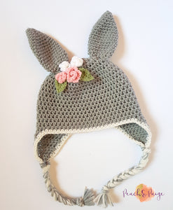 CROCHET PATTERN - Bunny Beanie with Floral or Bow Detail