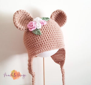 CROCHET PATTERN - Bear Beanie with floral detail