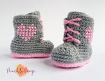 CROCHET PATTERN - Tie Up Boots with Heart Logo