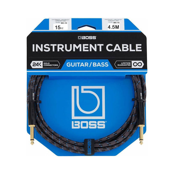 BOSS 15ft / 4.5m Instrument Cable, Straight/Straight 1/4