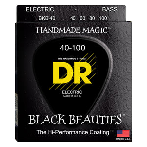 DR BKB-40 Black K3 Coated Bass Strings - Lite, 40-100