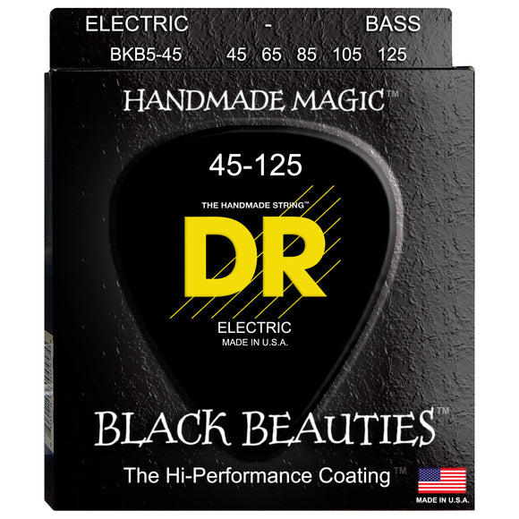 DR BKB5-45 Black Beauties K3 Coated Bass Strings Medium 45-125