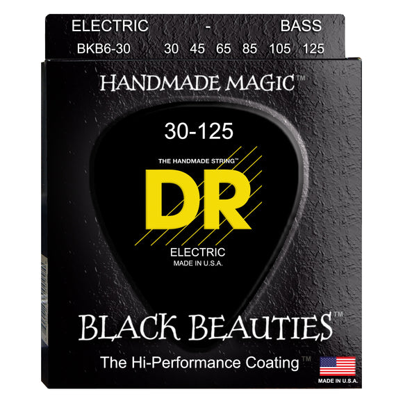 DR BKB6-30 Black Beauties K3 Coated Bass Strings Medium 6-String 30-125