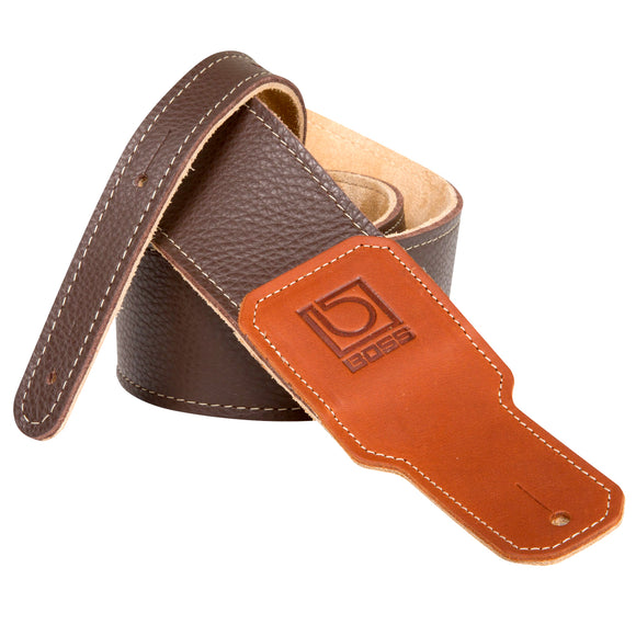 BOSS Brown Leather Guitar Strap 2.5