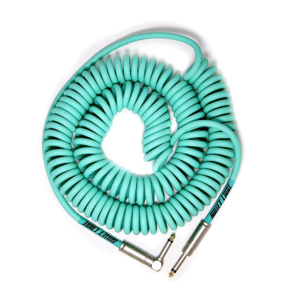 Bullet Cable 30' Coil Cable Seafoam Str/Ang. Connectors