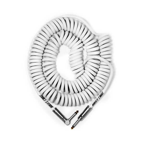 Bullet Cable 30' Coil Cable White Str/Ang  Connectors