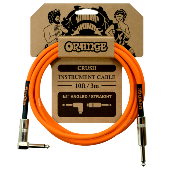 Orange Crush 10ft Instrument Cable Straight to Right Angle