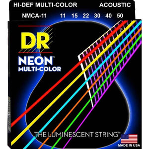 DR Strings NCMA-11 Neon™ Multi-Color acoustic strings with K3™ Technology 11-50