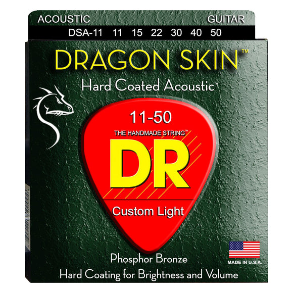 DR DSA-11 Dragon Skin Coated Acoustic Strings Custom Light 11-50