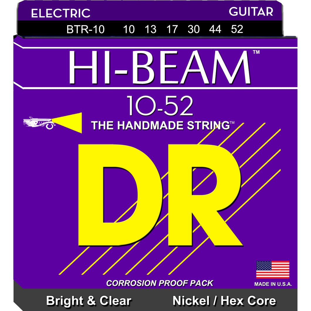 DR Hi-Beam BTR-10 Nickel-Plated Steel Hex Core Electric Strings Big - Heavy 10-52