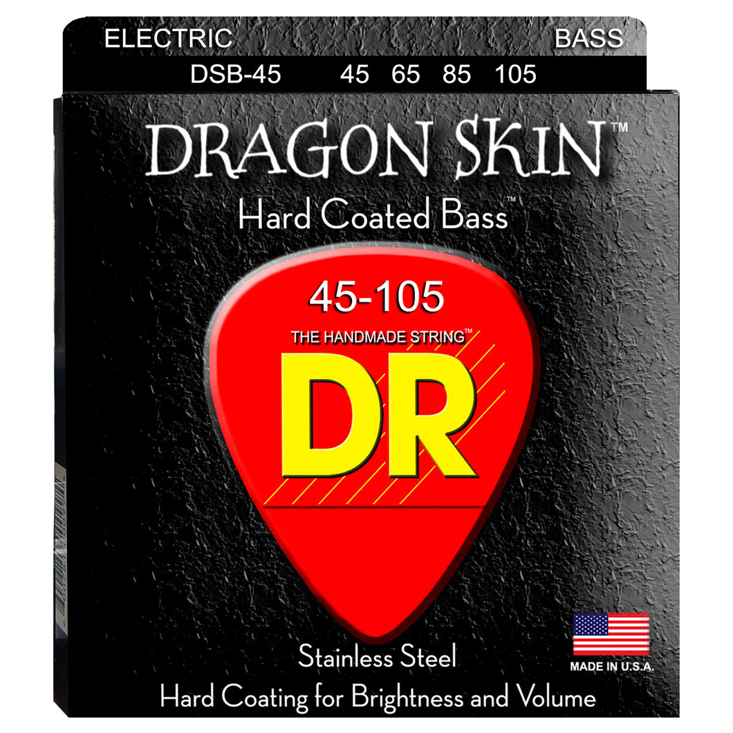 DR Strings DSB-45 DragonSkin Coated Bass Strings - Medium, 45-105