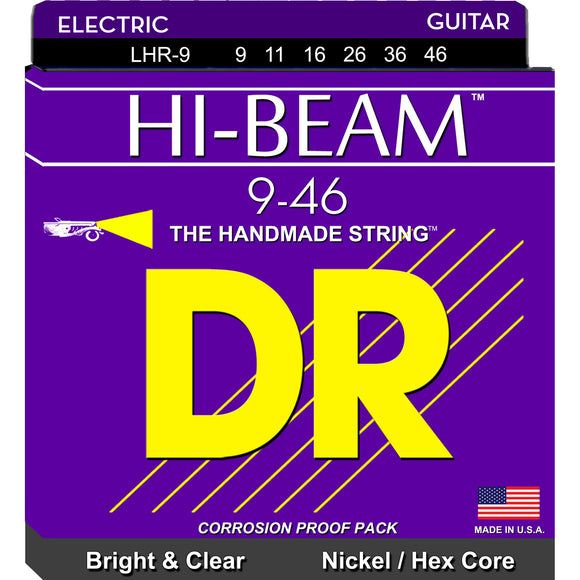 DR Hi-Beam LHR-9/46 Nickel-Plated Steel Hex Core Electric Strings Light - Heavy 9-46