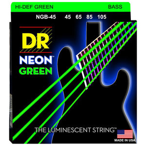 DR Strings NGB-45 NEON Hi-Def Green Coated Bass Strings - Medium, 45-105