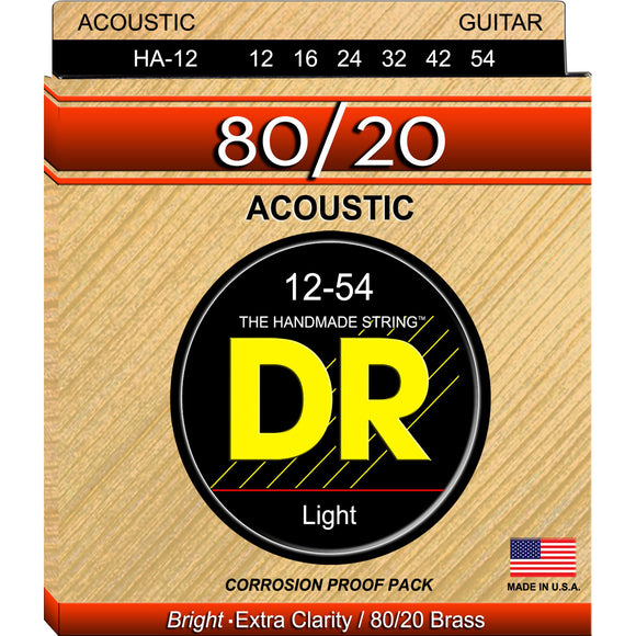 DR HA-12 Hi-Beam 80/20 Acoustic Strings 12-54 Light