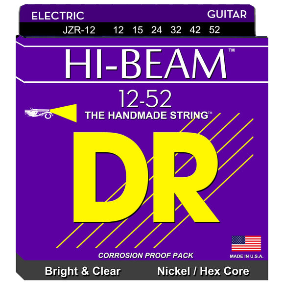 DR Hi-Beam JZR-12 Nickel-Plated Steel Hex Core Electric Strings Extra - Heavy 12-52
