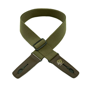 "Lock-It Guitar Strap 2"" Cotton Olive 36"" - 60"""