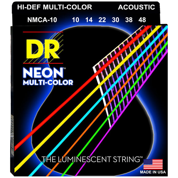 DR NMCA-10 Neon™ Multi-Color acoustic strings with K3™ Technology 10-48