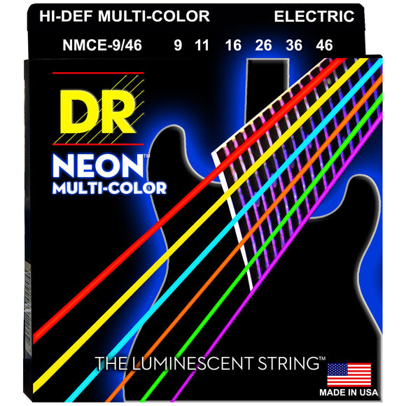 DR NMCE9-46 Multi-Color Electric Strings - Light-Heavy, 9-46