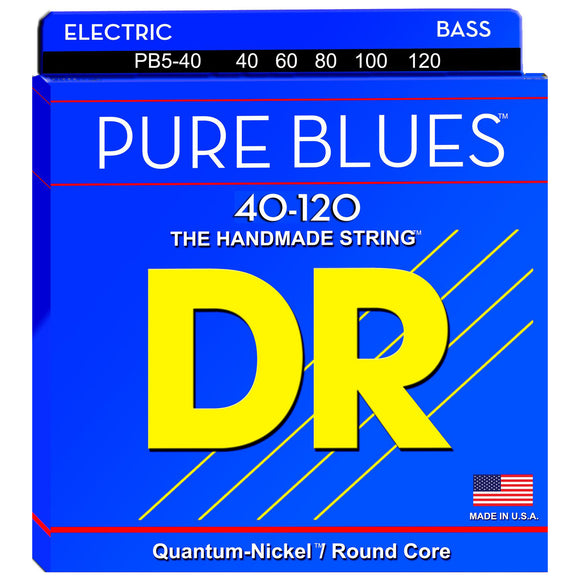 DR PB5-40 Pure Blues Quantum-Nickel Bass Strings for 5-String 40-120