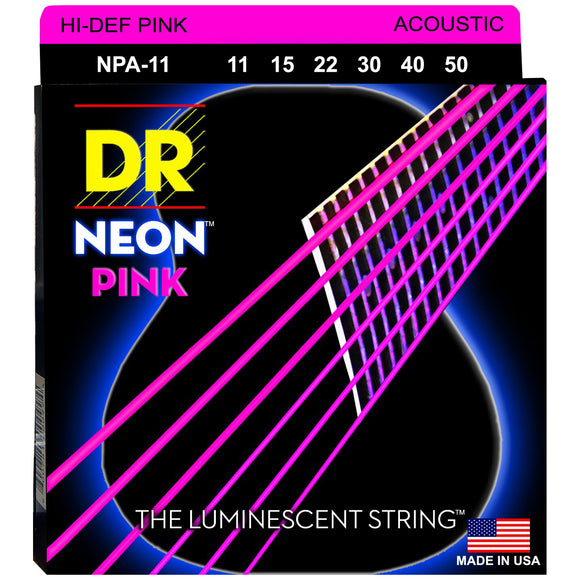 DR NPA-11 Neon™ Pink acoustic strings with K3™ Technology 11-50