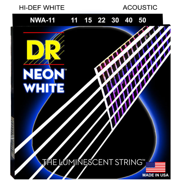 DR NWA-11 Neon™ White acoustic strings with K3™ Technology 11-50