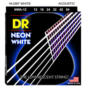 DR NWA-12 Neon™ White acoustic strings with K3™ Technology 12-54