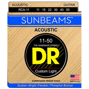 DR RCA-11 Sunbeam Phosphor Bronze Acoustic Strings Custom Light 11-50