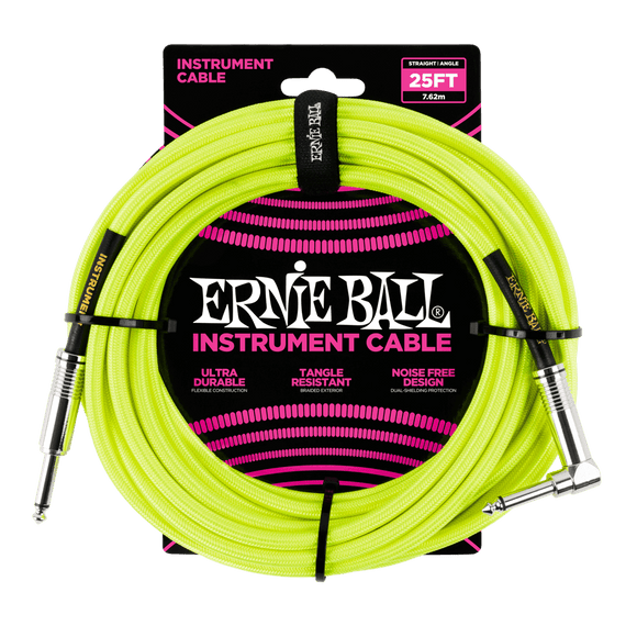 Ernie Ball 25' Braided Instrument Cable Straight/Angle Neon Yellow