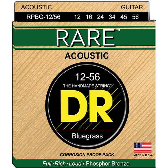 DR RPBG-12/56 Rare Phosphor Bronze Acoustic Strings 12-56 Bluegrass