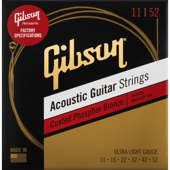 Gibson Coated Phosphor Bronze Acoustic Strings - Ultra Light 11 - 52