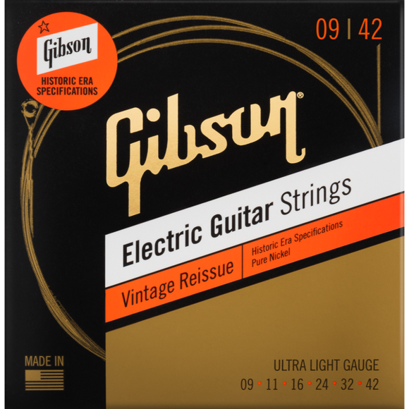 Gibson Vintage Reissue Electric Guitar Strings - Ultra Light 9-42