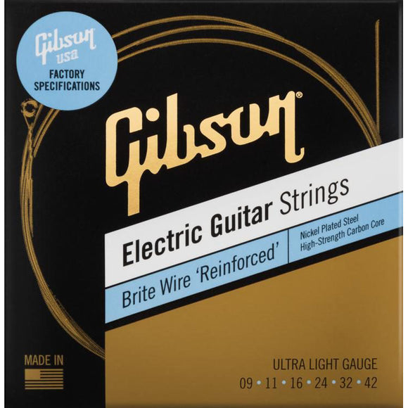 Gibson Brite Wire 'Reinforced' Electric Guitar Strings Ultra Light Gauge 9-42