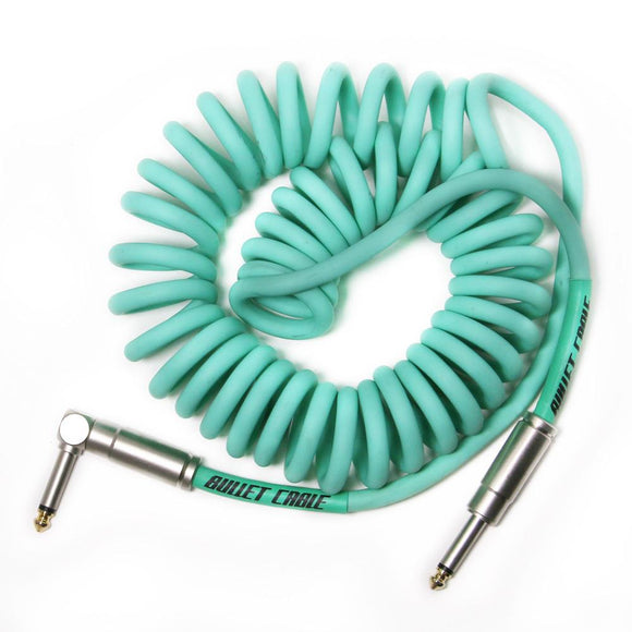 Bullet Cable 15 foot Sea Foam Green Coil Cable