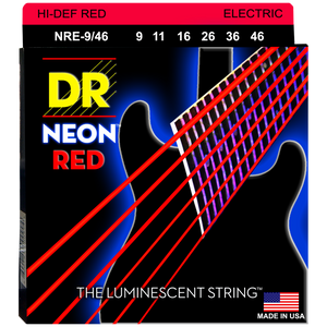 DR NRE9-46 NEON Red Electric Strings Medium 9-46 | NRE9-46