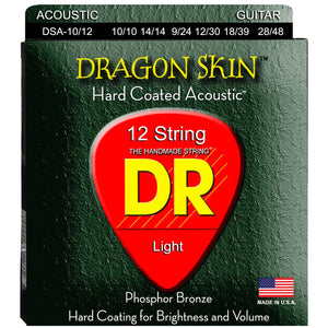 DR DSA-10/12 Dragon Skin Coated Acoustic Strings 12 String 10-48