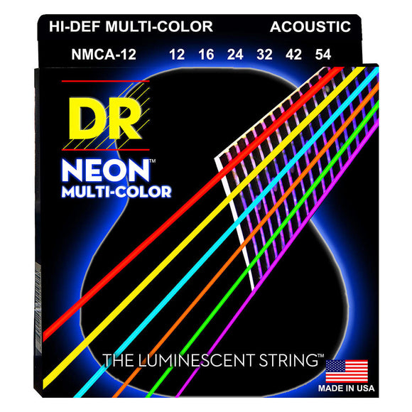 DR NMCA-12 Neon™ Multi-Color acoustic strings with K3™ Technology 12-54
