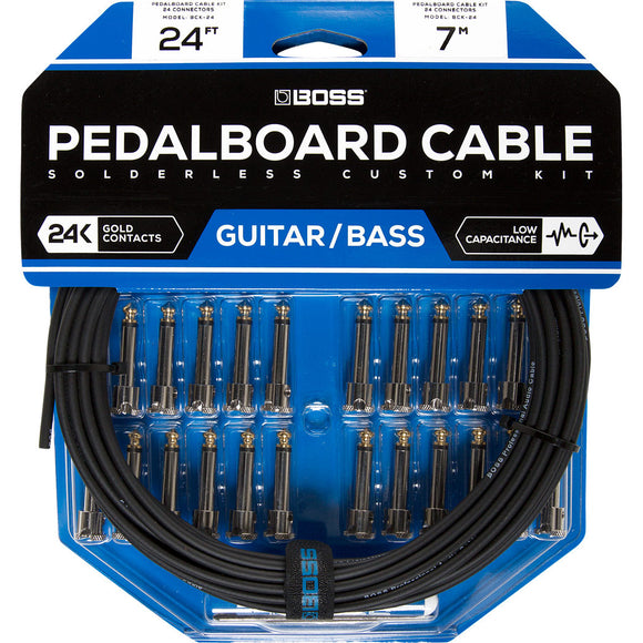 BOSS Solderless Pedalboard Cable Kit, 24 Connectors, 24ft / 7m Cable BCK-24