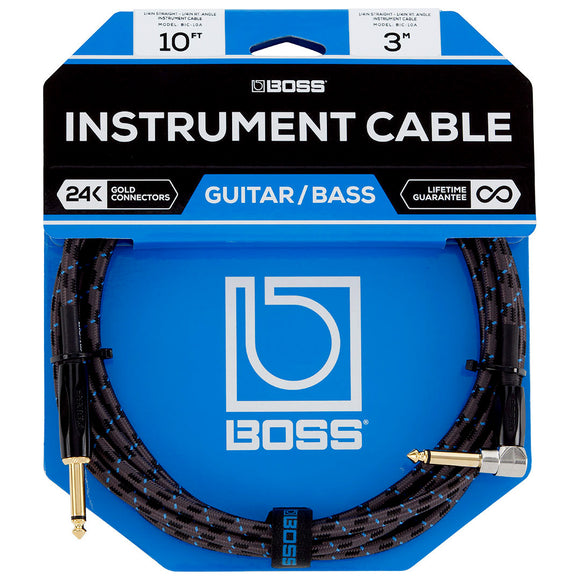 BOSS 10ft / 3m Instrument Cable, Straight to Right-Angle 1/4