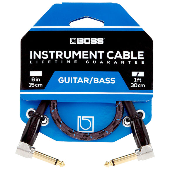 BOSS 1ft / 30cm Instrument Cable, Angled/Angled 1/4