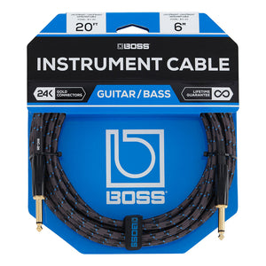 "BOSS 20ft / 6m Instrument Cable, Straight/Straight 1/4"" Jack"