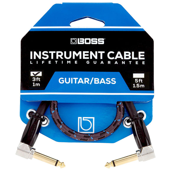 BOSS 3ft / 1m Instrument Cable, Angled/Angled 1/4