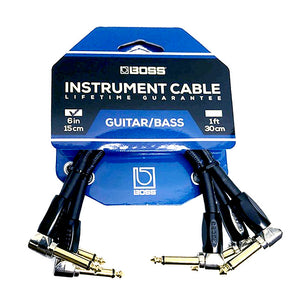 "BOSS 6"" / 15cm Instrument Patch Cable - 1/4"" Right Angle to 1/4"" Right 3-Pack"