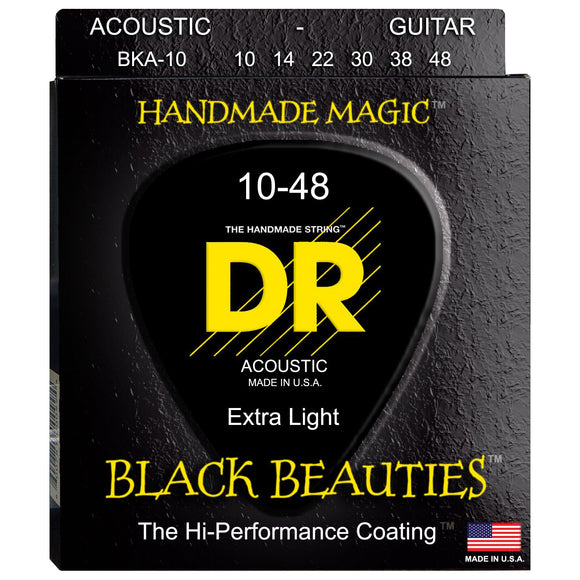 DR BKA-10 Black K3 Coated Acoustic Strings