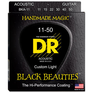 "DR BKA-11 Black K3 Coated Acoustic Strings ""Black Beauties"" 11-50"